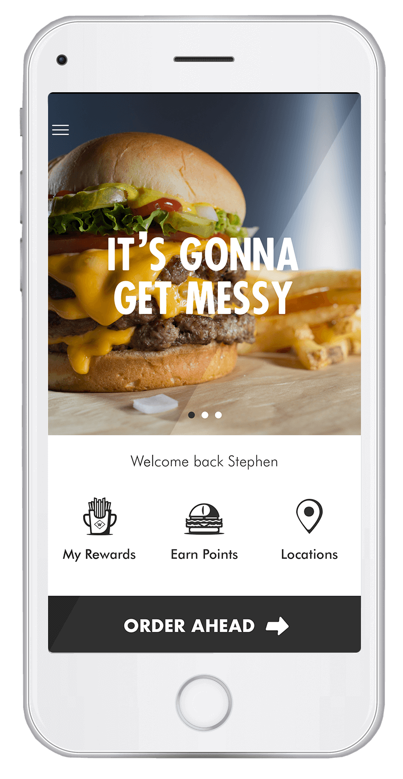 The Wayback Loyalty App running on a smartphone.